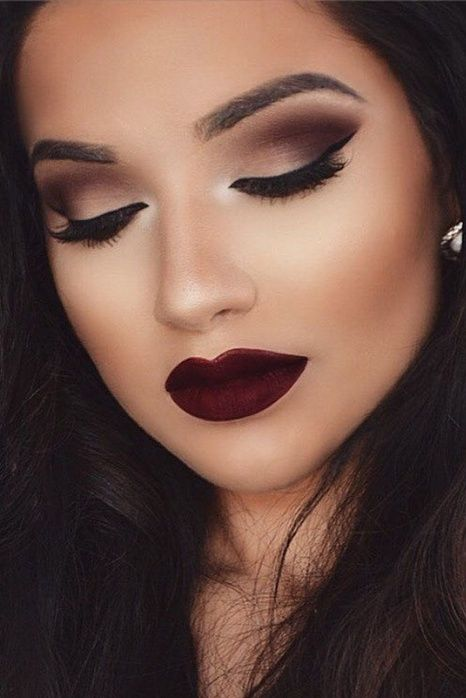 Beautiful burgundy look with MAC products! MAC   Foundation, eyeshadow palette, lip stain  #SSCollective #getthelook #makeup #MAC #todaysdetails