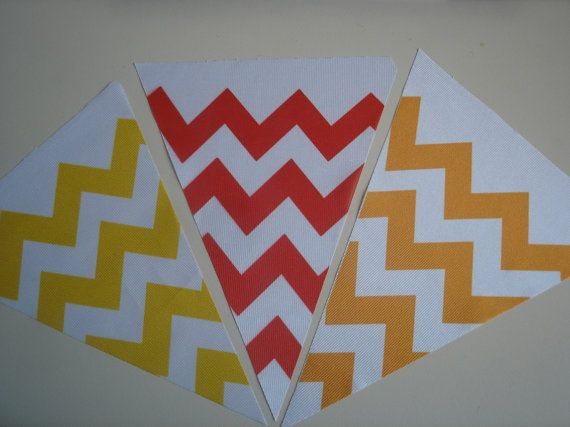 Fabric Bunting Chevron Yellow Red Orange Combination by customflag, $19.00