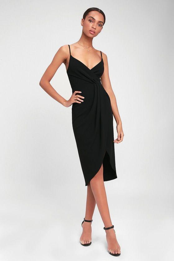 Special Guest Black Surplice Midi Dress  03d3106c9
