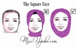 Cara Memakai Jilbab untuk wajah persegi
