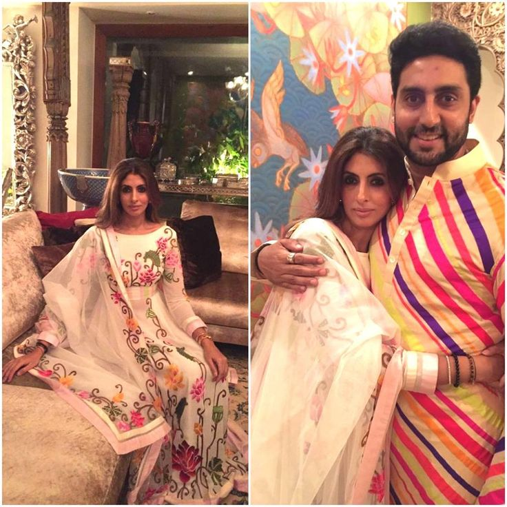 BONDING IN STYLE! We are loving the Sibling Love. Our Kind of Celebration! Shweta Bachchan Nanda is glorious in a Lotus Patola Anarkali and her brother, Abhishek Bachchan matches her Glam in an exuberant multi-hued, striped Kurta, both ensembles by #AbuJaniSandeepKhosla Couture.