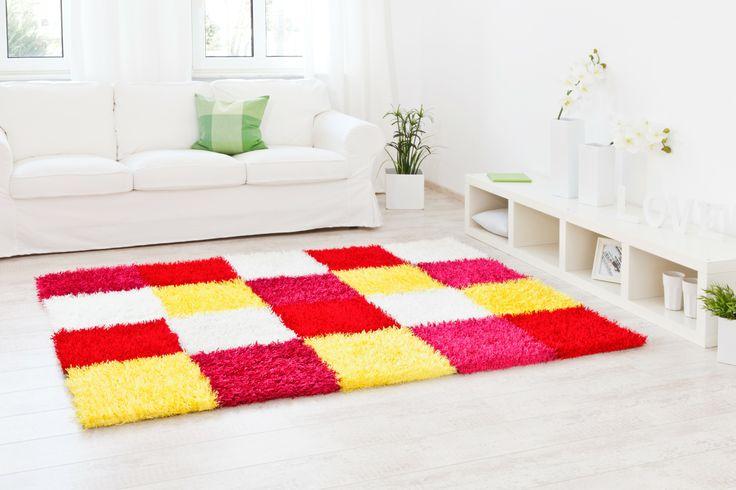 Kachelmuster mit einem frischen bunten Farbenmix - Teppich Al Mano