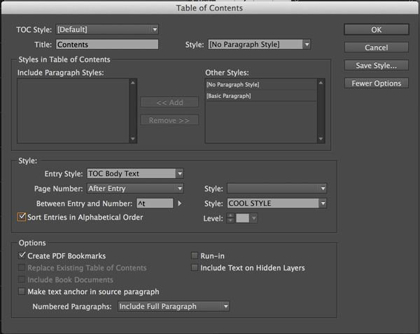 how to make a table of contents in indesign