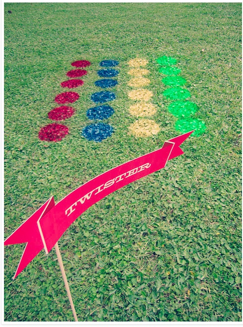 Lawn twister...Looks like a new game to play on field day or a party at the lake!