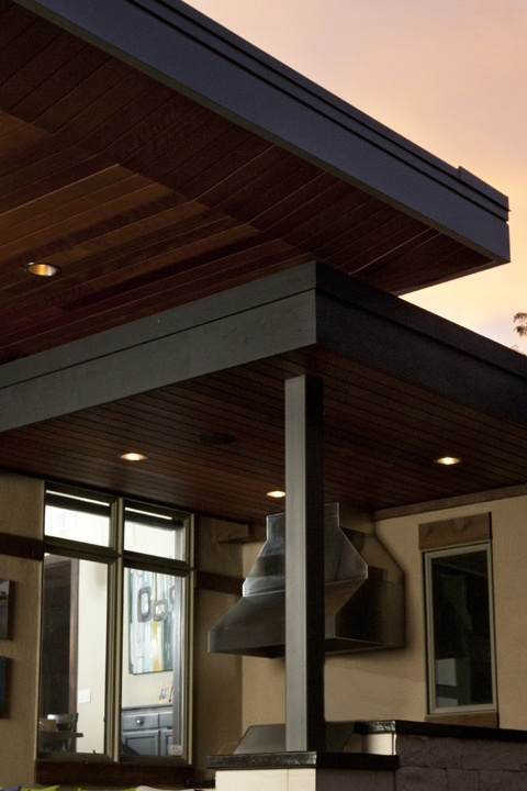 Custome metal fascia on upper roof. Uplifted soffits around perimeter of upper roof for disappearing edge effect. Cedar wrapped lower roof. Hidden structure and floating look. Design Platform