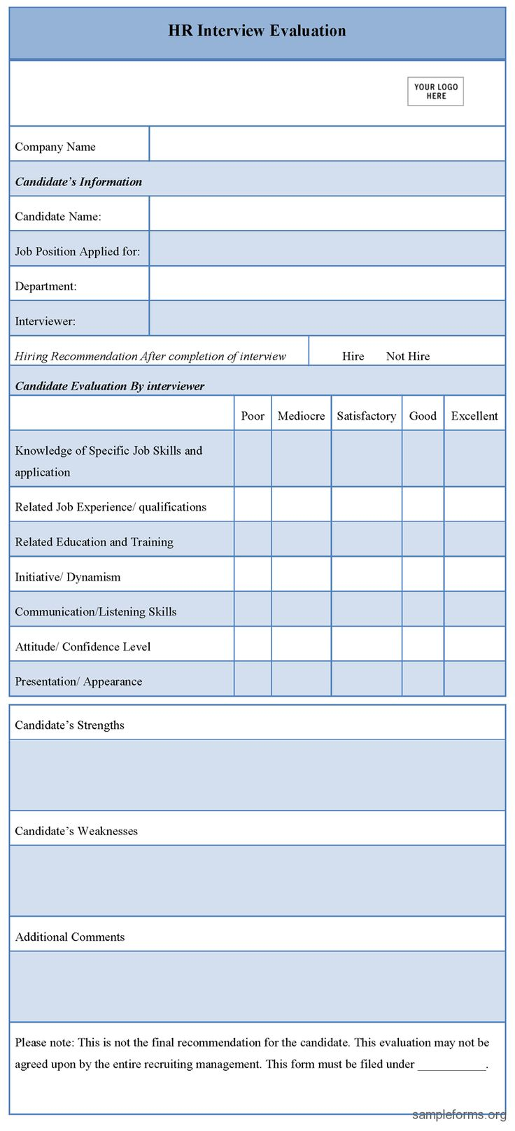 17 Best images about forms – Candidate Evaluation Form