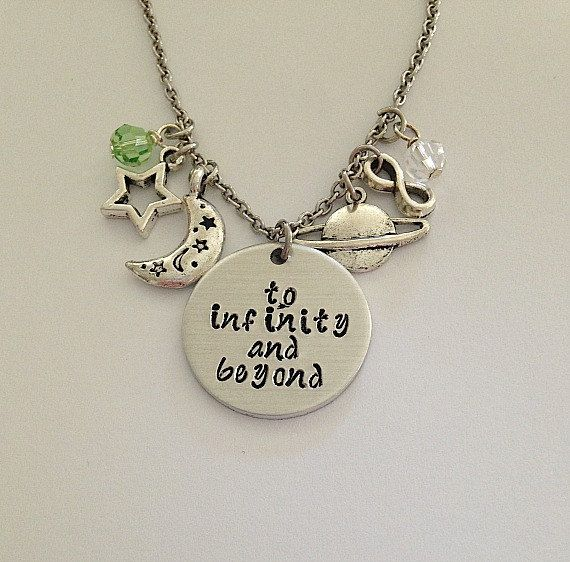Disney inspired Toy Story necklace to infinity and beyond Woody Buzz Lightyear hand stamped Disney Jewelry charm necklace