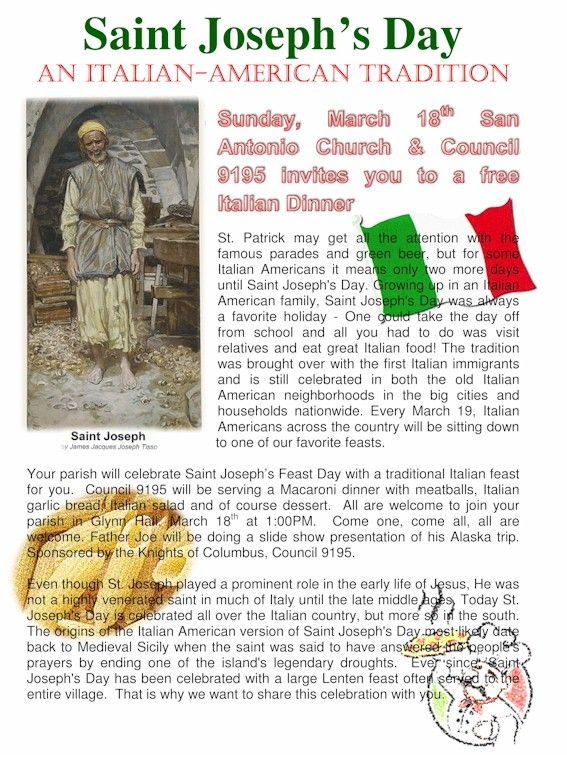 St. Joseph's Day   An Italian-American Tradition and my name day!!