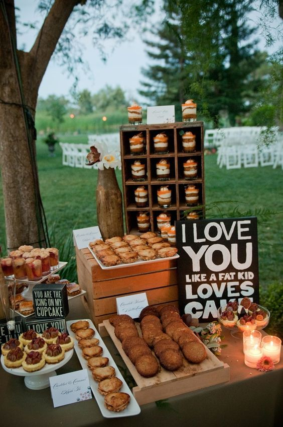 rustic country wedding dessert display / http://www.himisspuff.com/wedding-dessert-tables-displays/8/