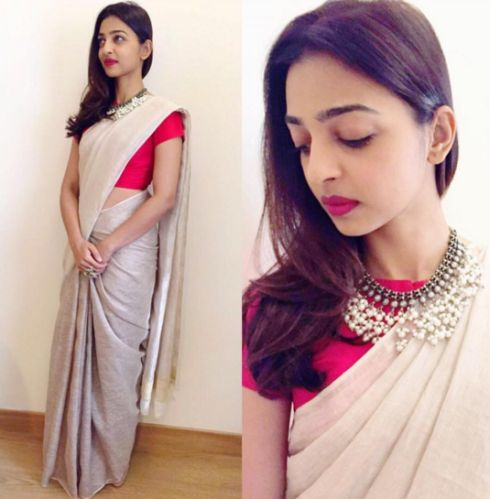 Radhika Apte in sari by Anavila M. The look can be made heavier with big earrings and chunky bangles to make it fit to wear to a friend's wedding event!