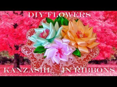 DIY Flores Kanzashi tocados en cintas - Kanzashi flowers headdresses ribbons - YouTube