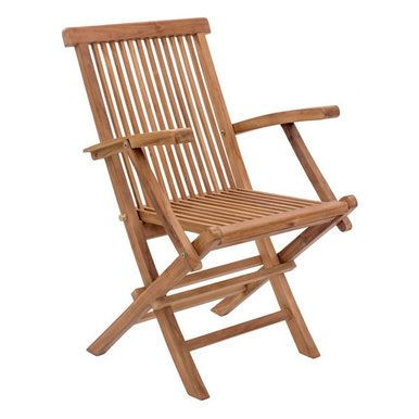 Set of 2 Outdoor Teak Folding Chairs with Arms. Made from solid unfinished Teak. The grade of Teak is BC, which limits the amount of knots found in the wood. This chair casts an impressive and cont
