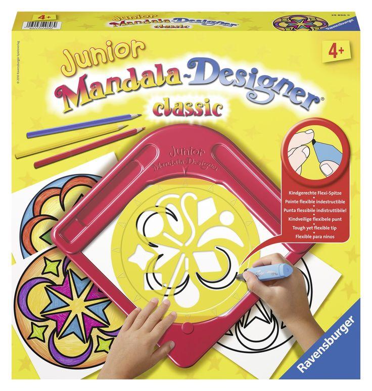 Zelf Mandala's maken! Met dit Mandala-sjabloon kun je de mooiste Mandala's ontwerpen. Gewoon een vel papier tussen het frame en de sjabloon leggen en je kunt beginnen. Voor ieder keer dat je een patroon wilt herhalen, draai je de sjabloon een pijl verder. Tenslotte nog inkleuren en klaar is je zelfontworpen Mandala. Inhoud: 1 frame om je papier onder te leggen, 1 Mandalasjabloon, 10 vellen papier, 1 ergonomisch gevormde viltstift, 3 kleurpotloden.   Afmeting: volgt later.. - Classic junior…