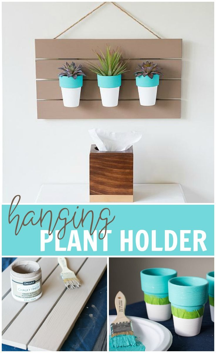 Attach terra cotta pots to a wooden sign painted with Americana Decor® Chalky Finish™ for the perfect hanging planter. @DecoArt #decoartprojects #madeformakers #decoartprojects