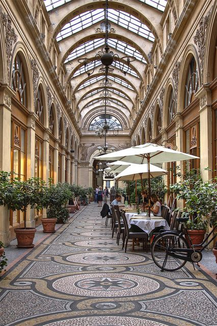PARIS, FRANCE. Upscale shopping mall in Paris at the Palais Royal. This photo was taken by AJ Brustein.