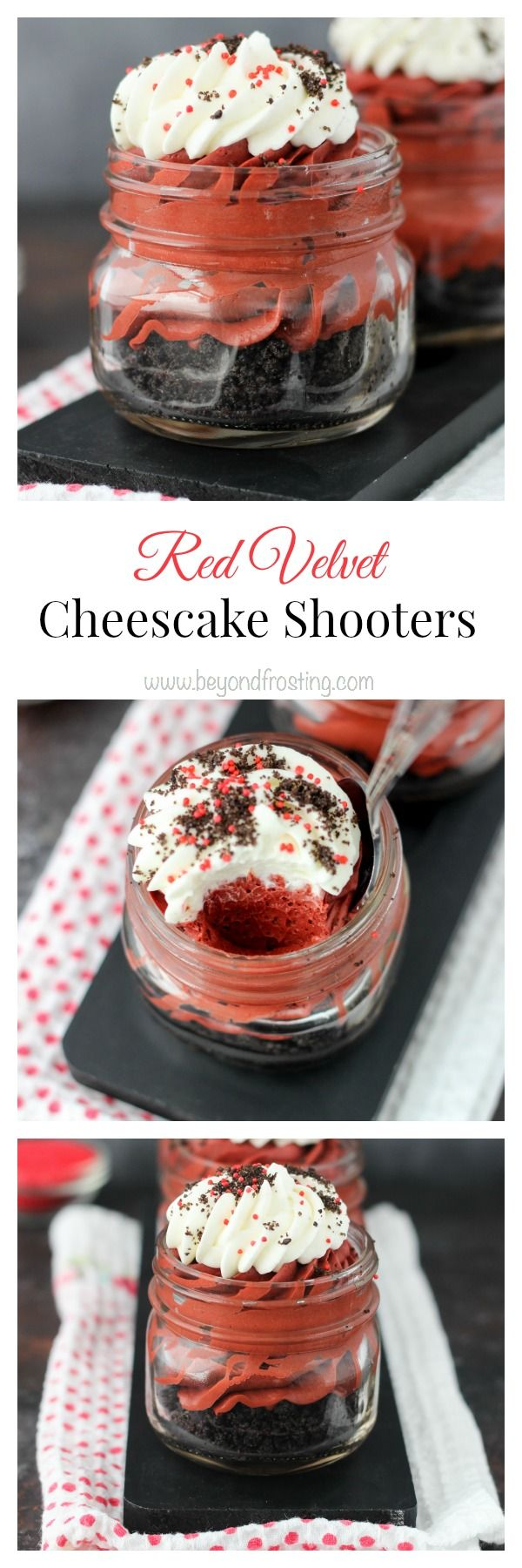 These Red Velvet Cheesecake Shooters have just the right amount of chocolate flavor. On the bottom, you've got a nice thick layer of Oreo cookies. Next, you have a smooth, red velvet no-bake cheesecake filling and it's topped with a hint of whipped cream
