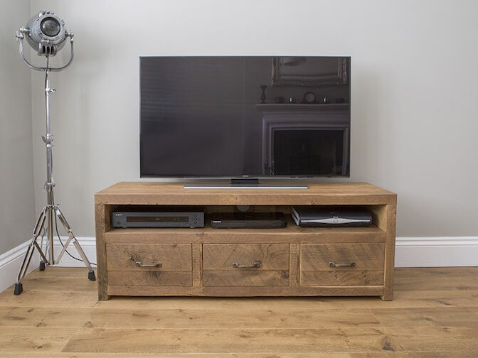 reclaimed wooden tv stand with drawers