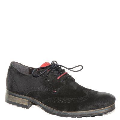 #Scarpa francesina da uomo #CafèNoir in camoscio nero e lacci bicolor http://www.tentazioneshop.it/scarpe-cafe-noir/scarpa-uomo-tt601-nero-cafe-noir.html