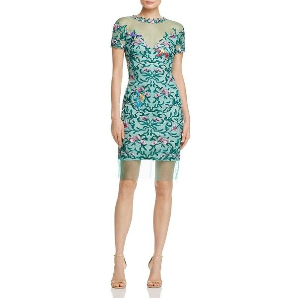 Tadashi Shoji Embroidered Dress (€110) found on Polyvore featuring women's fashion, dresses, emerald green, tadashi shoji cocktail dresses, lining dress, lined dress, emerald green dresses and emerald green cocktail dress