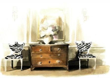 Interior - Victoria Molinelli - Jessica Lagrange Interiors. Watercolor specialist