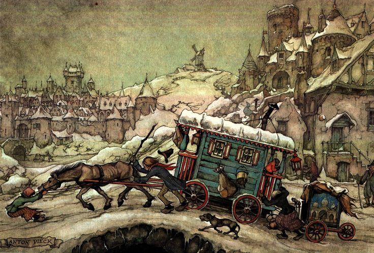 Crossing the Bridge in Winter - Anton Pieck, Dutch painter, artist and graphic…