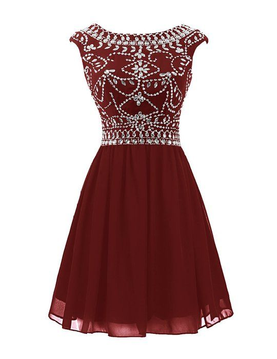 Wedtrend Women's Short V-back Prom Dress Chiffon Homecoming Dress with Beads WT10145 Burgundy Size 4