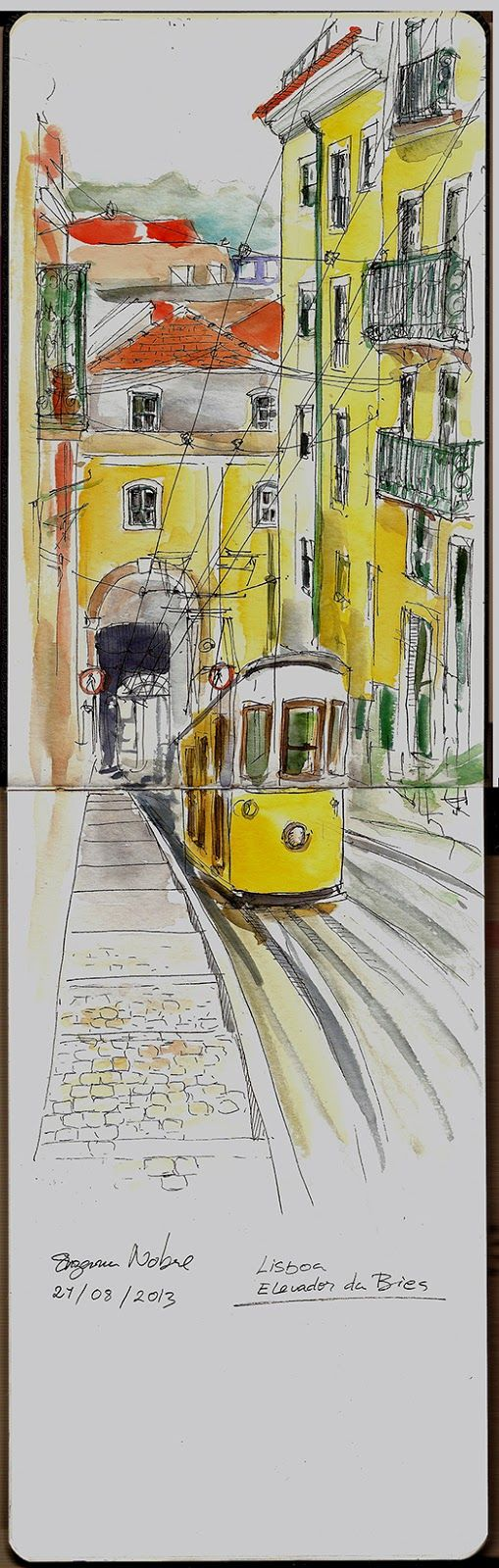 Elevador da Bica (Lisboa). Urban Sketchers Portugal