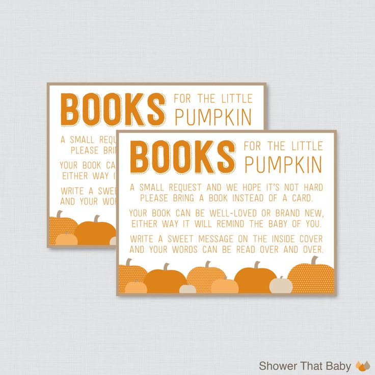 Little Pumpkin Baby Shower Bring a Book Instead of a Card Invitation Inserts - Instant Download - Orange and Brown - Little Pumpkin 0035-O by ShowerThatBaby on Etsy https://www.etsy.com/listing/202563600/little-pumpkin-baby-shower-bring-a-book