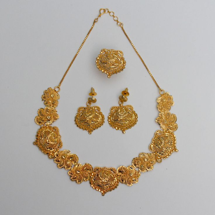 22ct Gold Plated Designer Wedding Indian Necklace, Earring, Ring Jewellery Sets | eBay