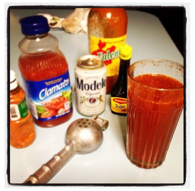 Michelada!!!  1/2 lime, chilli powder (just a pinch), salt & pepper (just a pinch),worchestire sauce, clamato juice(1/4 cup) Mix everything up then start adding the beer (make sure is very cold).  Enjoy specially on a ☀☀ hot day!