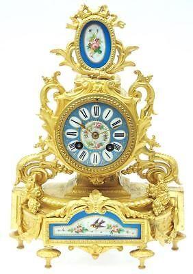 French-Antique-8-Day-Blue-Sevres-Mantel-Clock-19thC-Gilt-Porcelain-Mantle-Clock
