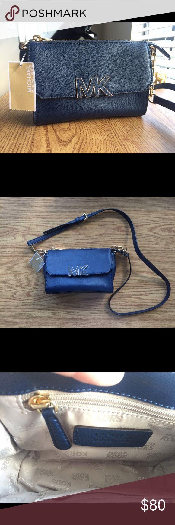 Michael Kors Navy Pebbled Leather Shoulder Purse Cute navy blue, pebbled leather shoulder bag from Michael Kors. Brand new, never used. Michael Kors Bags Crossbody Bags