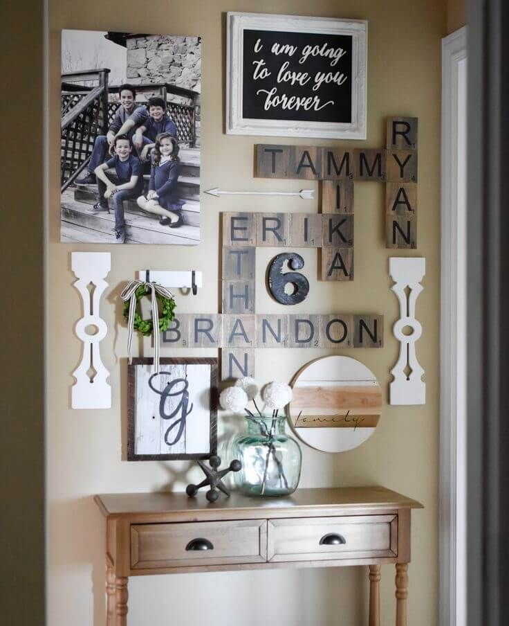 rustic family names wall crossword puzzle farmhouse wall on wall art for home id=70474