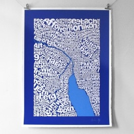 Intricate typographic map of Zürich naming districts and places in respective areas.