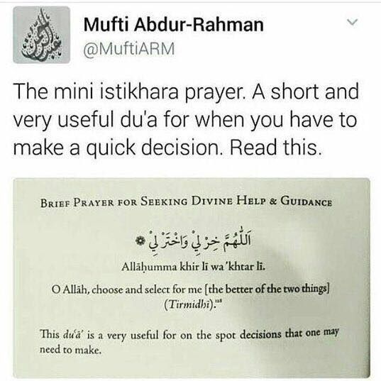 For quick decision istikhara