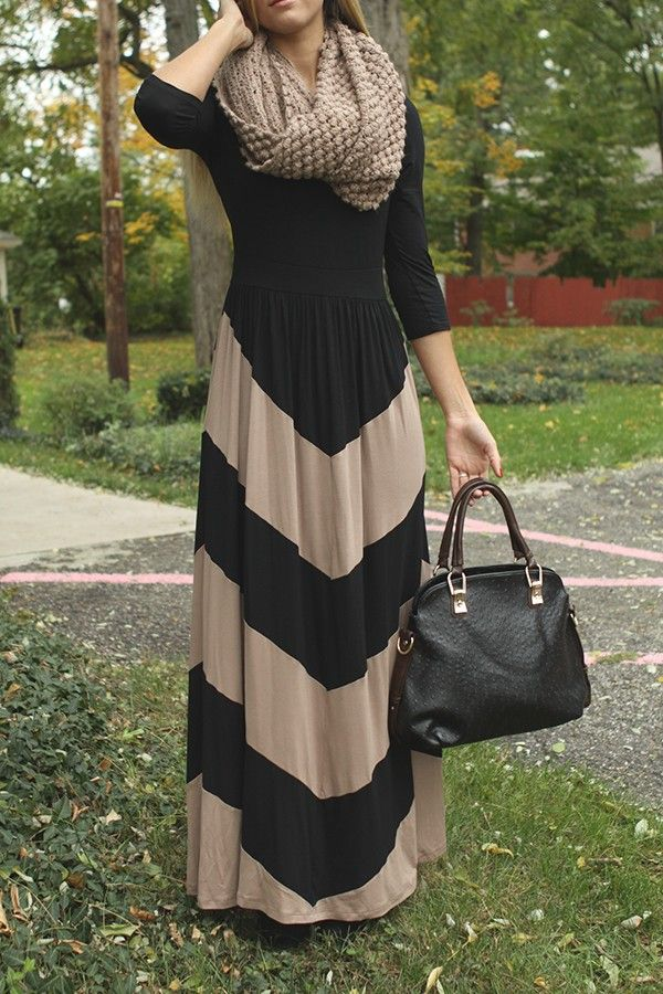 Walk This Way Long Sleeve Maxi Dress in Mocha and Black