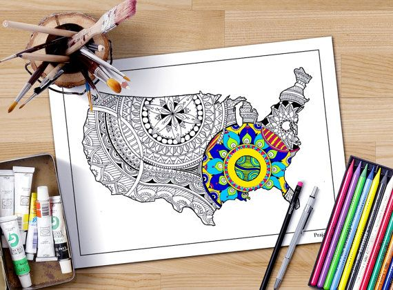 Usa Map Adult Coloring Page This Is Filled With Intricate Designs