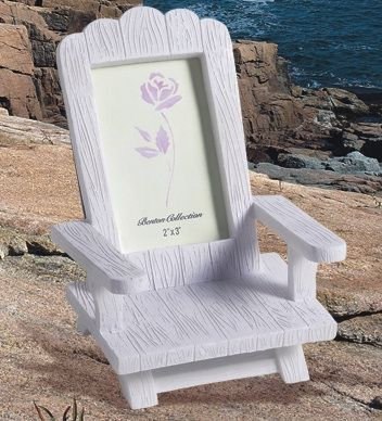 Resin Adirondack Beach Chair Photo Frames (FashionCraft 8610) | Buy at Wedding Favors Unlimited (http://www.weddingfavorsunlimited.com/resin_adirondack_photo_frame_chair.html).