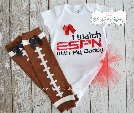 I watch ESPN with my daddy Girl Football Set. $36.00, via Etsy. I love this...our daughter (if we have one) will be a Daddy's girl for sure!!