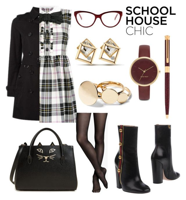 """""""Plaid Dress For My Exam Day ❤️"""" by anca2 on Polyvore featuring Burberry, Miu Miu, Express, Gucci, Nine West, Charlotte Olympia and Montblanc"""