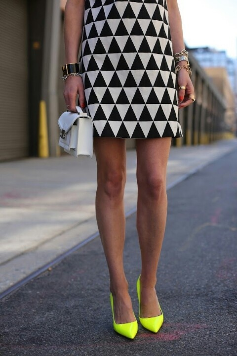 Neon pop stiletto point shoes with black and white bold print dress