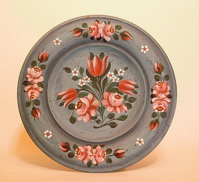 Hand Painted Wooden Plate - wooden plate with Folk Art painting. $34.00, via Etsy.