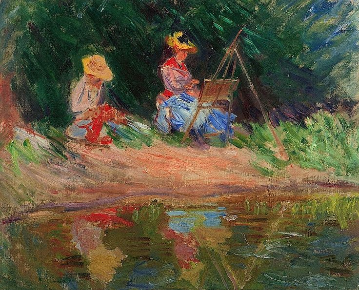 1887 Claude Monet - Blanche Monet painting with her sister Suzanne by the river
