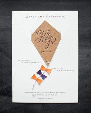 Kate + Philip's Whimsical Kite Save the Dates via Oh So Beautiful Paper: http://ohsobeautifulpaper.com/2014/02/kate-philips-sophisticated-calligraphy-wedding-invitations/ | Design: Atheneum Creative | Calligraphy: Meant to Be Calligraphy | Photo: Chelsea Davis Photography