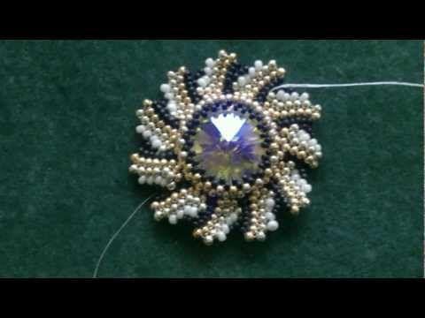 Video: Beading4perfectionists : Swarovski Rivoli sunray Bezel pattern #Seed #Bead #Tutorials