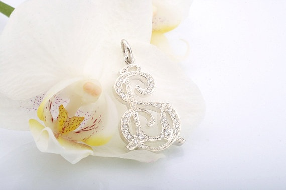 Monogram Pendant. White Gold and Diamonds Monogram Pendant.