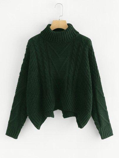 e7d760bd2d41 Mixed Knit Asymmetrical Hem Jumper -SheIn(Sheinside)
