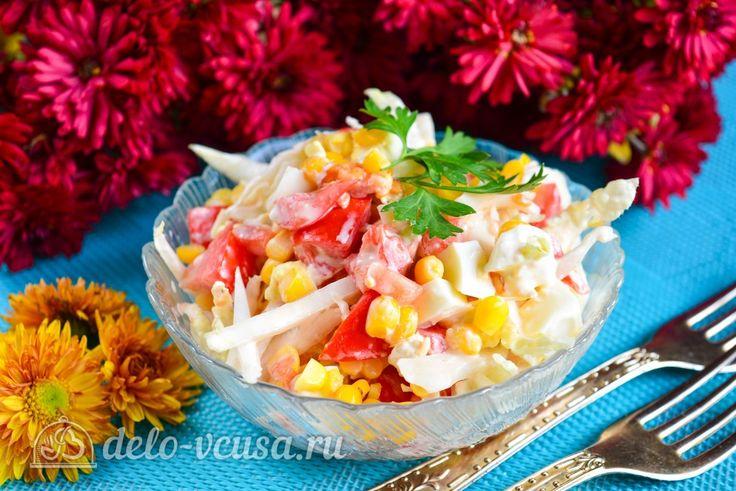 Салат с капустой, помидорами и кукурузой #салат #капуста #овощи #рецепты #деловкуса #готовимсделовкуса