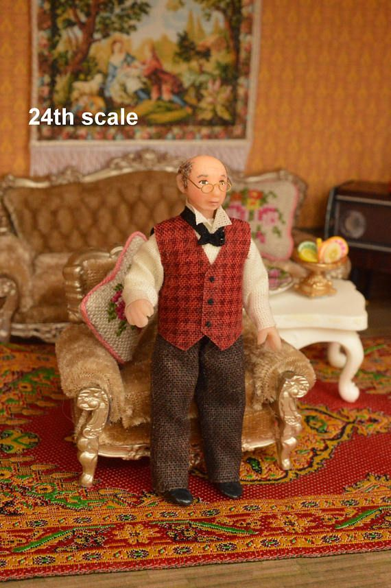 Miniature Doll Polymer Clay Grandfather Miniature 24th Scale