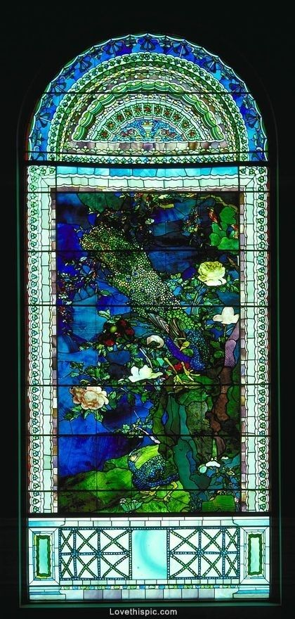 Cathedral Window ~ Stained Glass.  Peacocks and Peonies I by John La Farge / American Art